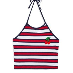 Topshop Cherry Embroidered Striped Tank